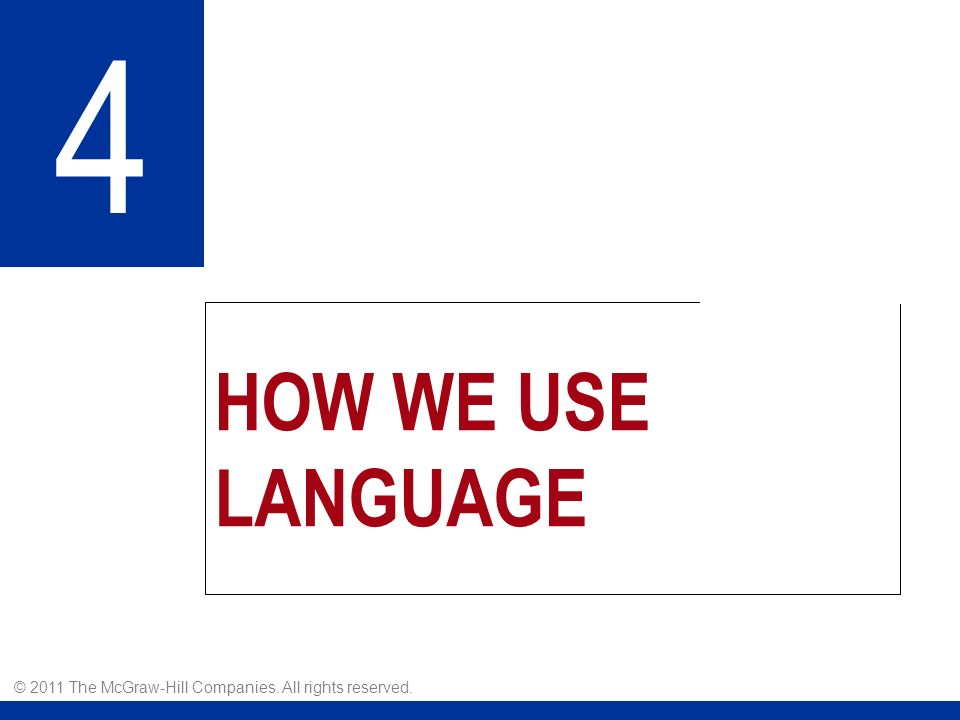 HOW WE USE LANGUAGE 4 © 2011 The McGraw-Hill Companies. All rights reserved.