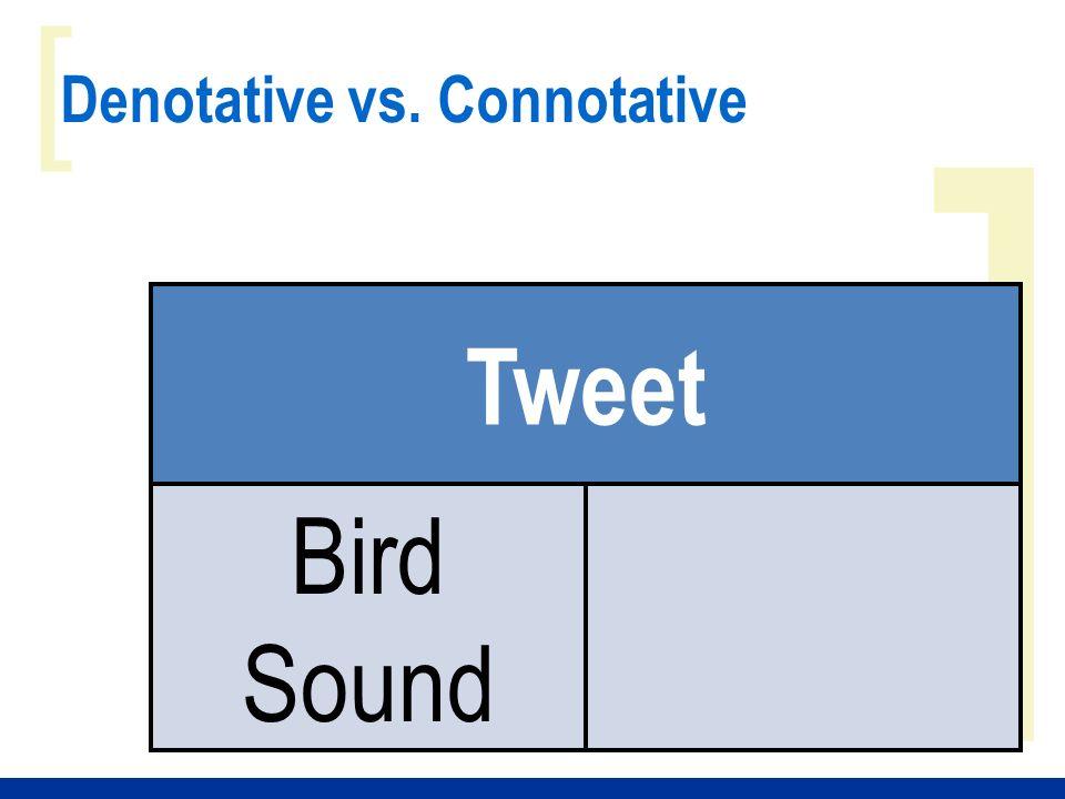 ] [ Denotative vs. Connotative Tweet Bird Sound