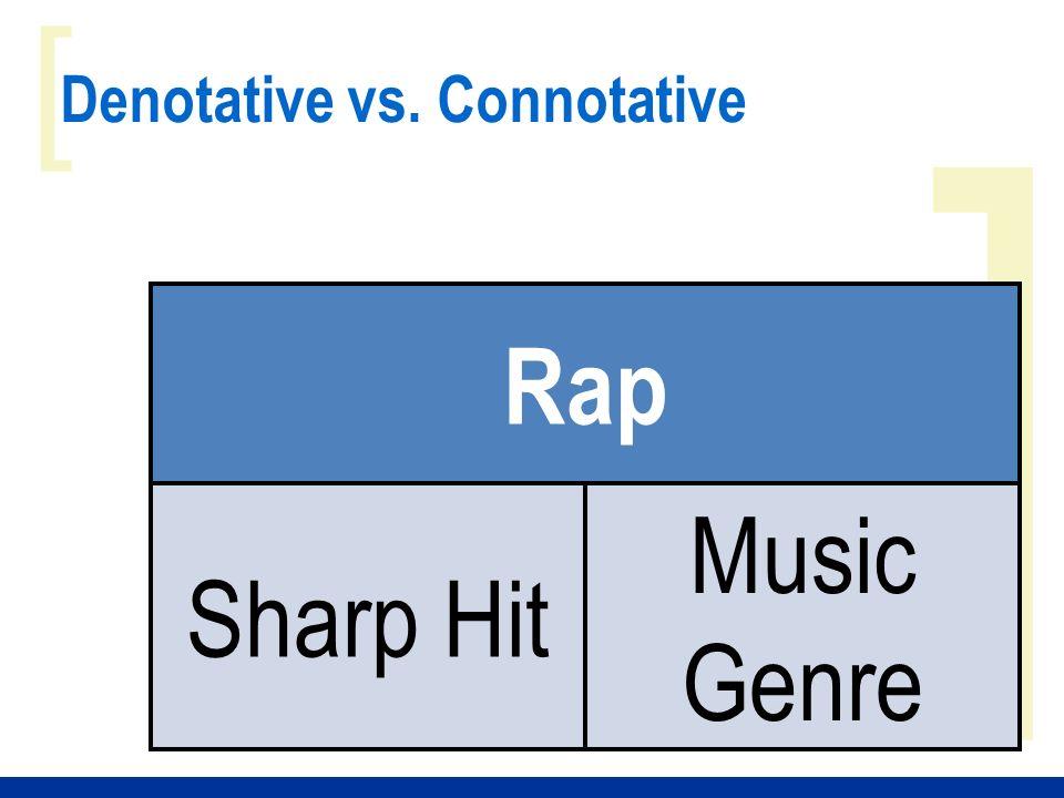 ] [ Denotative vs. Connotative Rap Sharp Hit Music Genre