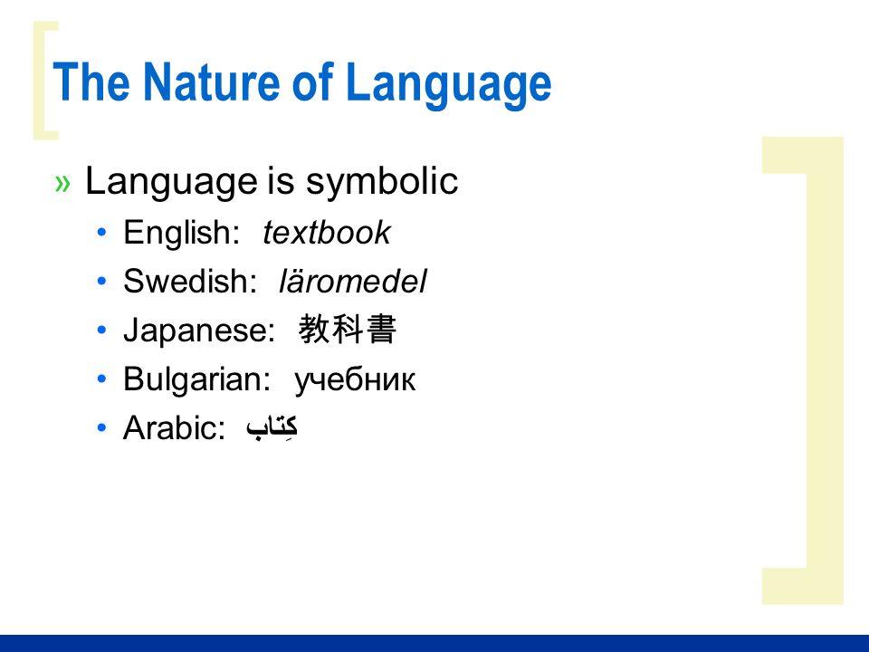 ] [ The Nature of Language » Language is symbolic English: textbook Swedish: läromedel Japanese: Bulgarian: учебник Arabic: كِتاب