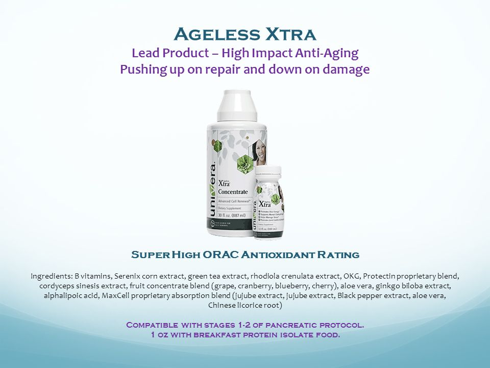 Ageless Xtra Lead Product – High Impact Anti-Aging Pushing up on repair and down on damage Super High ORAC Antioxidant Rating Ingredients: B vitamins, Serenix corn extract, green tea extract, rhodiola crenulata extract, OKG, Protectin proprietary blend, cordyceps sinesis extract, fruit concentrate blend (grape, cranberry, blueberry, cherry), aloe vera, ginkgo biloba extract, alphalipoic acid, MaxCell proprietary absorption blend (jujube extract, jujube extract, Black pepper extract, aloe vera, Chinese licorice root) Compatible with stages 1-2 of pancreatic protocol.