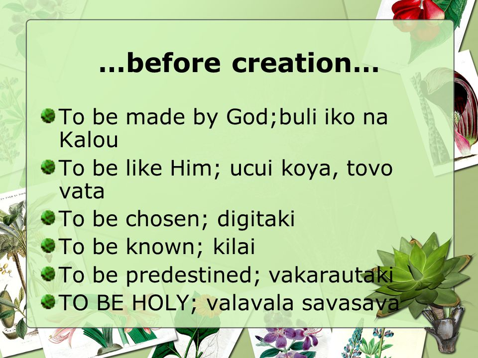 …before creation… To be made by God;buli iko na Kalou To be like Him; ucui koya, tovo vata To be chosen; digitaki To be known; kilai To be predestined; vakarautaki TO BE HOLY; valavala savasava