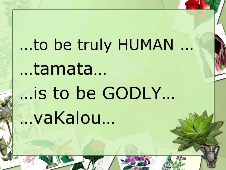 … to be truly HUMAN … …tamata… …is to be GODLY… …vaKalou…