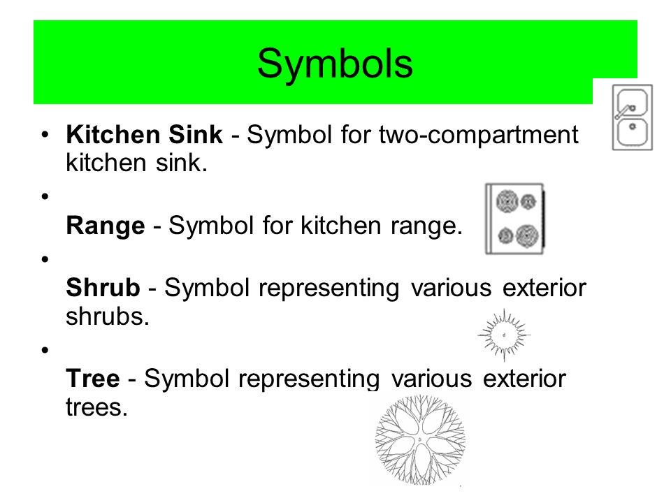 Symbols Kitchen Sink - Symbol for two-compartment kitchen sink. Range - Symbol for kitchen range. Shrub - Symbol representing various exterior shrubs.