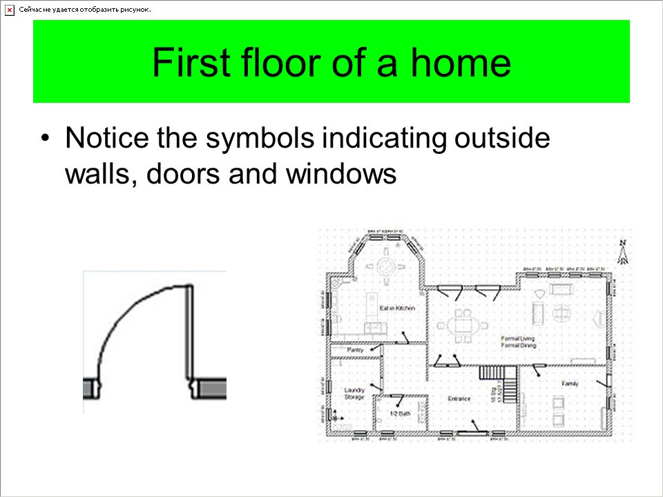 First floor of a home Notice the symbols indicating outside walls, doors and windows