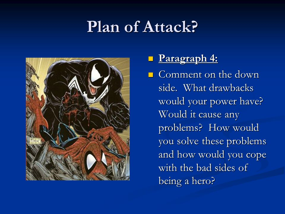 Plan of Attack? Paragraph 4: Comment on the down side. What drawbacks would your power have? Would it cause any problems? How would you solve these pr