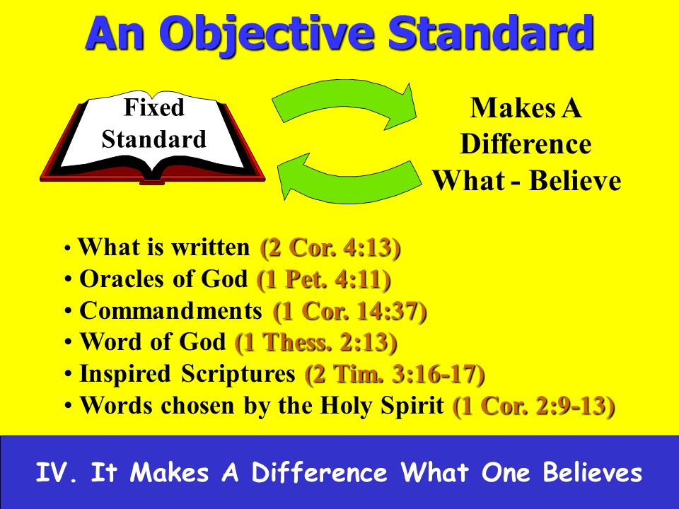 An Objective Standard Makes A Difference What - Believe Fixed Standard (2 Cor.