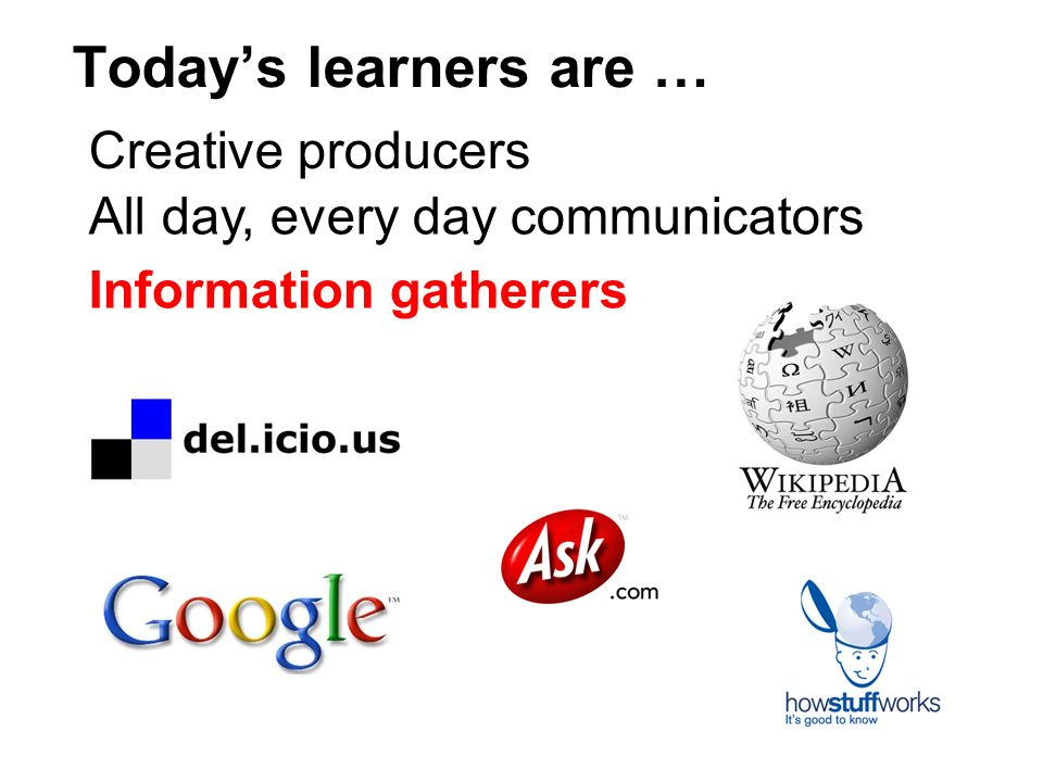 Todays learners are … Creative producers All day, every day communicators Information gatherers