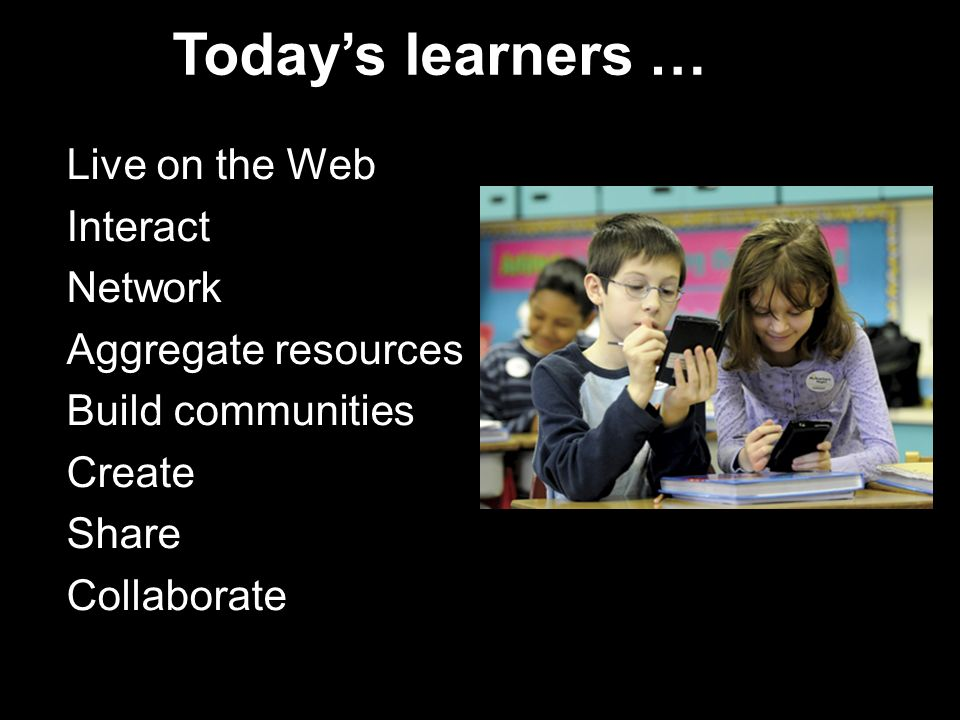 Live on the Web Interact Network Aggregate resources Build communities Create Share Collaborate Todays learners …