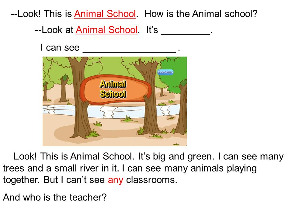 --Look! This is Animal School. How is the Animal school? Look! This is Animal School. Its big and green. I can see many trees and a small river in it.