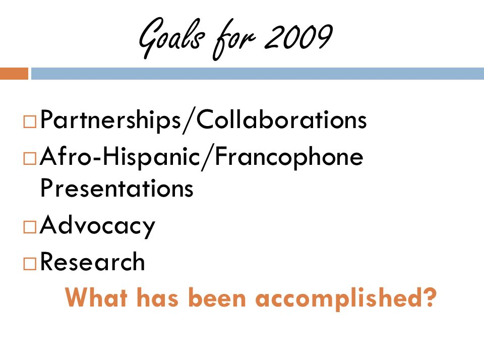 Goals for 2009 Partnerships/Collaborations Afro-Hispanic/Francophone Presentations Advocacy Research What has been accomplished