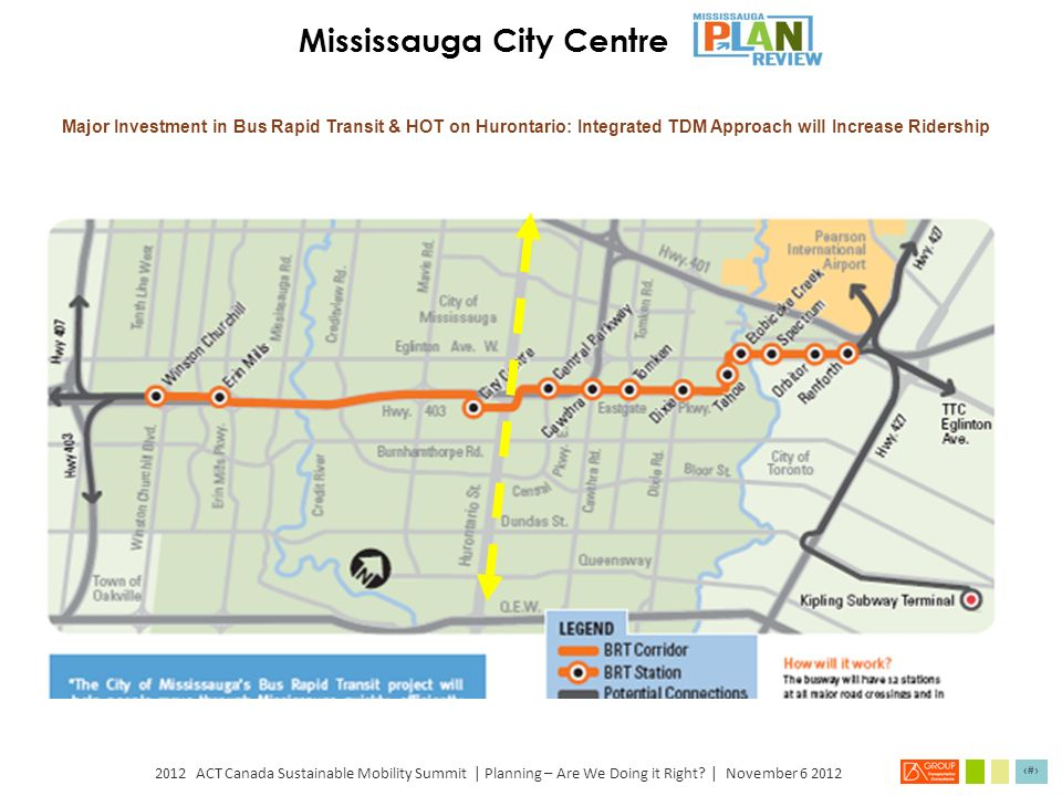 2012 ACT Canada Sustainable Mobility Summit | Planning – Are We Doing it Right? | November 6 2012 9 Mississauga City Centre: Downtown Concept Source: