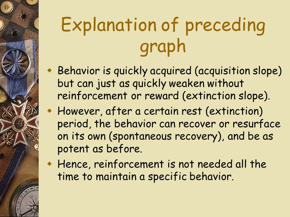 Explanation of preceding graph Behavior is quickly acquired (acquisition slope) but can just as quickly weaken without reinforcement or reward (extinction slope).