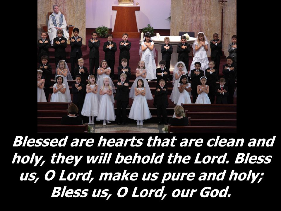 Blessed are hearts that are clean and holy, they will behold the Lord. Bless us, O Lord, make us pure and holy; Bless us, O Lord, our God.