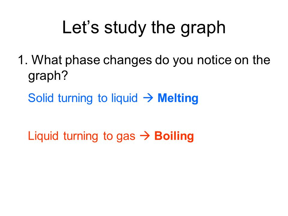 Lets study the graph 1. What phase changes do you notice on the graph? Solid turning to liquid Melting Liquid turning to gas Boiling