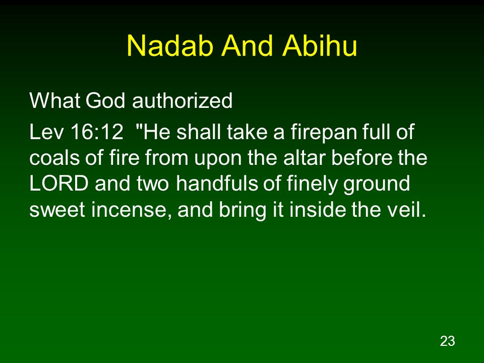 23 Nadab And Abihu What God authorized Lev 16:12