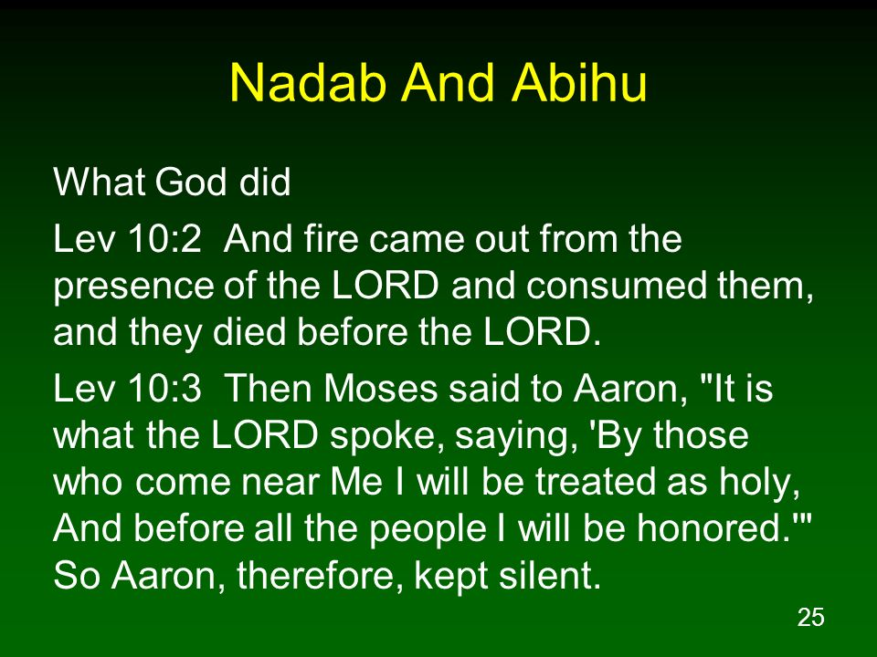 25 Nadab And Abihu What God did Lev 10:2 And fire came out from the presence of the LORD and consumed them, and they died before the LORD. Lev 10:3 Th