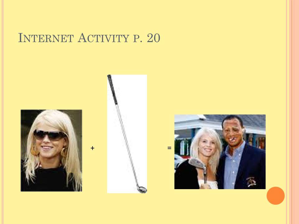 I NTERNET A CTIVITY P. 20 + =