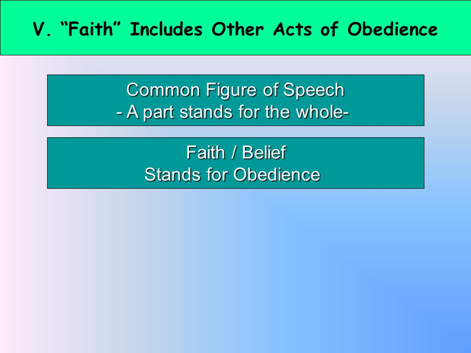 V. Faith Includes Other Acts of Obedience Common Figure of Speech - A part stands for the whole- Faith / Belief Stands for Obedience