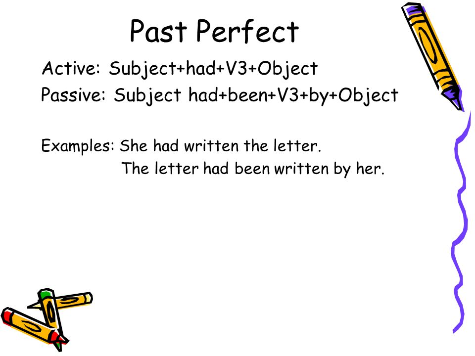 Past Perfect Active: Subject+had+V3+Object Passive: Subject had+been+V3+by+Object Examples: She had written the letter. The letter had been written by