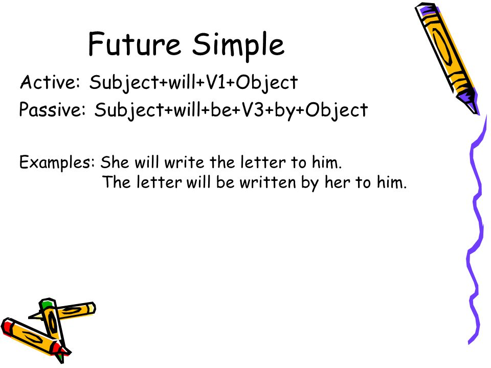Future Simple Active: Subject+will+V1+Object Passive: Subject+will+be+V3+by+Object Examples: She will write the letter to him. The letter will be writ