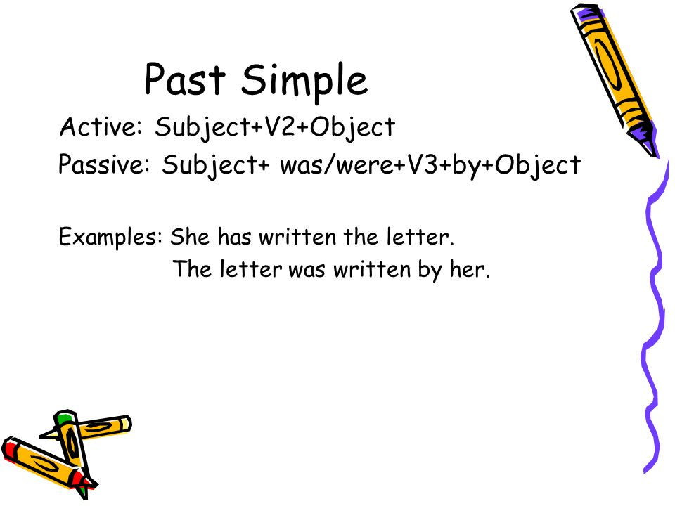 Past Simple Active: Subject+V2+Object Passive: Subject+ was/were+V3+by+Object Examples: She has written the letter. The letter was written by her.