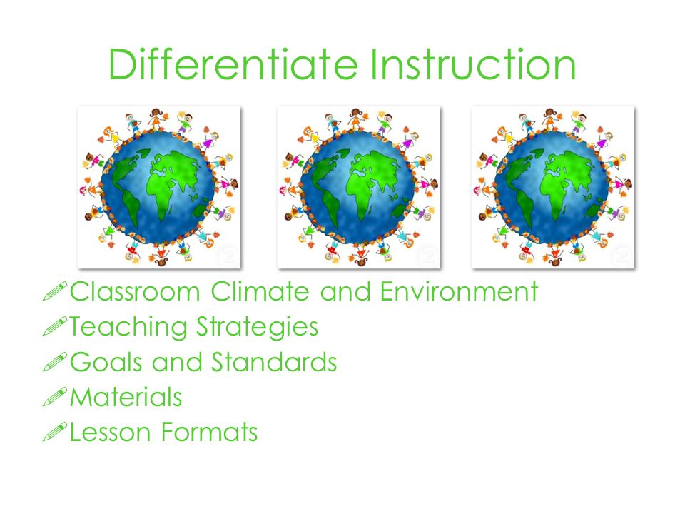 Differentiate Instruction Classroom Climate and Environment Teaching Strategies Goals and Standards Materials Lesson Formats