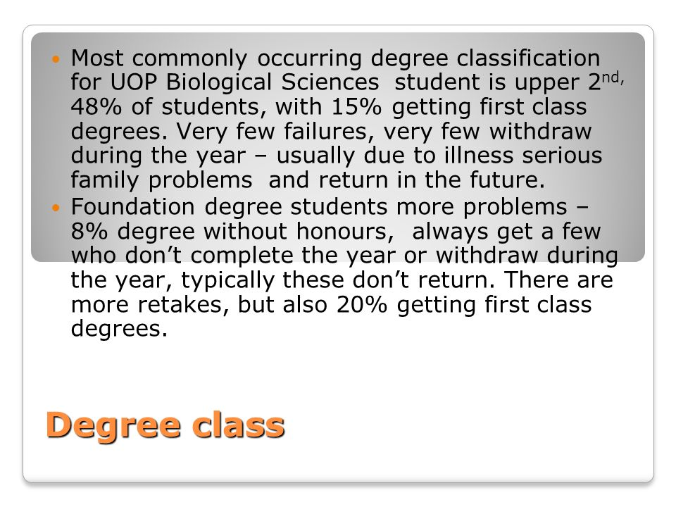 Degree class Most commonly occurring degree classification for UOP Biological Sciences student is upper 2 nd, 48% of students, with 15% getting first
