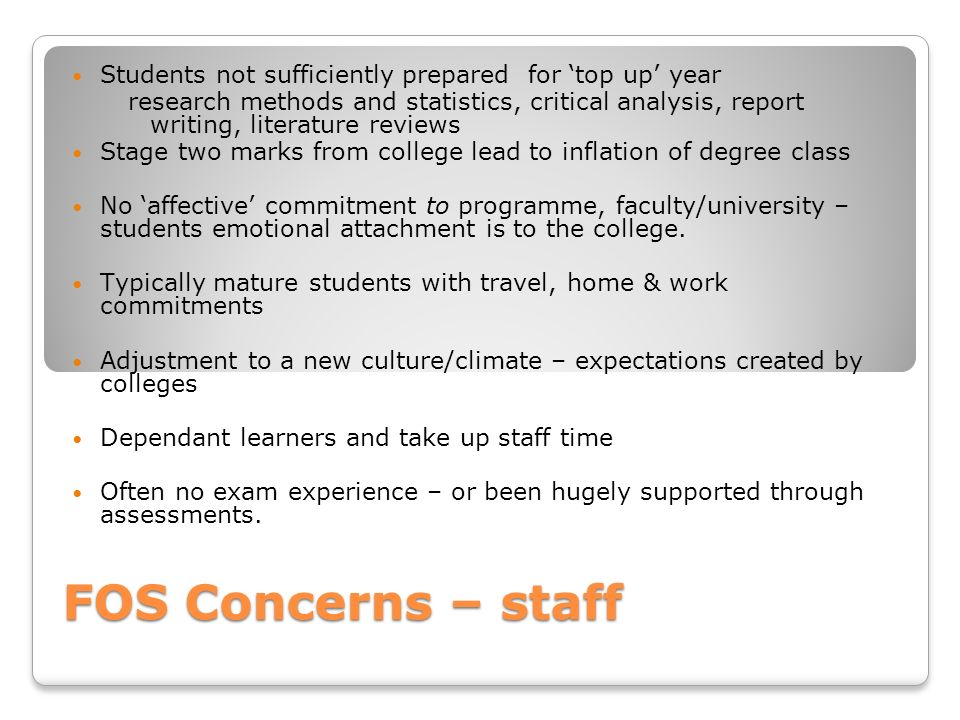 FOS Concerns – staff Students not sufficiently prepared for top up year research methods and statistics, critical analysis, report writing, literature