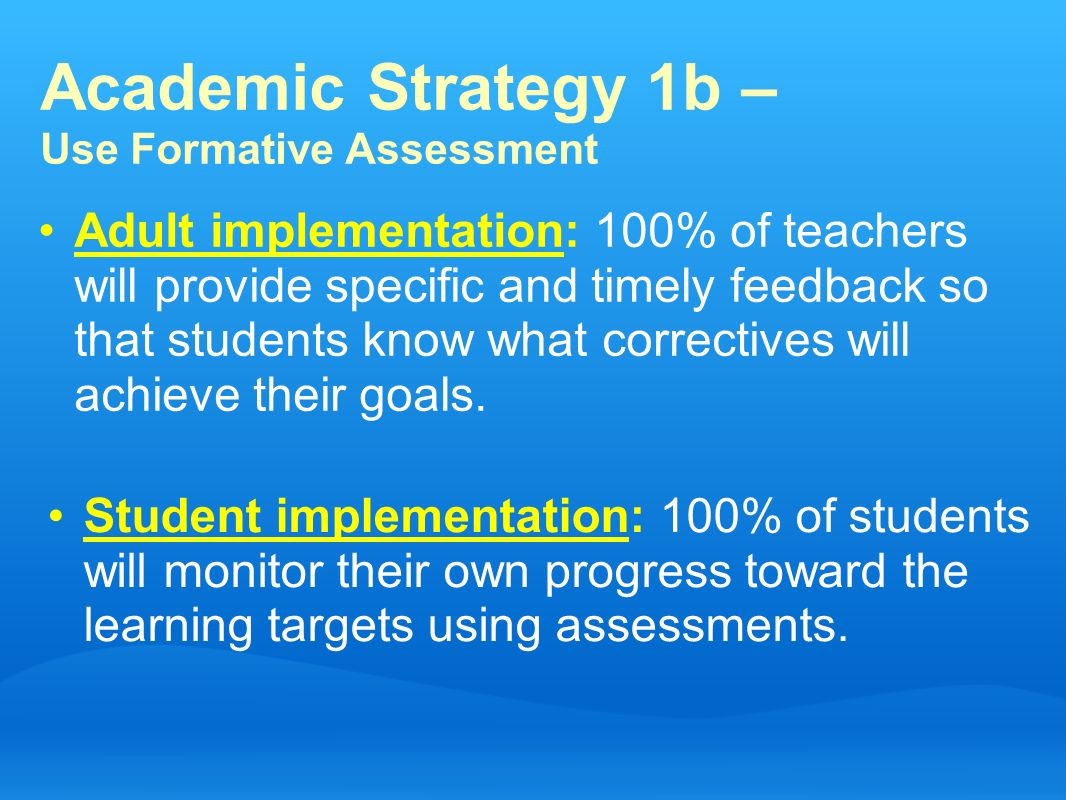 Academic Strategy 1b – Use Formative Assessment Adult implementation: 100% of teachers will provide specific and timely feedback so that students know