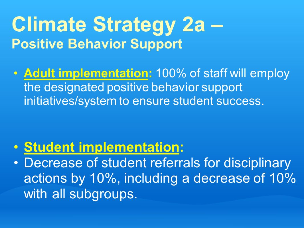 Climate Strategy 2a – Positive Behavior Support Adult implementation: 100% of staff will employ the designated positive behavior support initiatives/s
