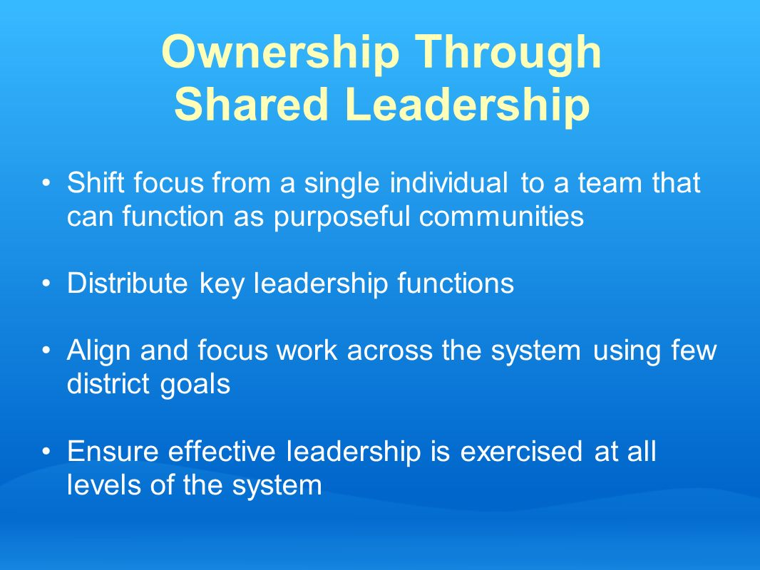 Ownership Through Shared Leadership Shift focus from a single individual to a team that can function as purposeful communities Distribute key leadersh