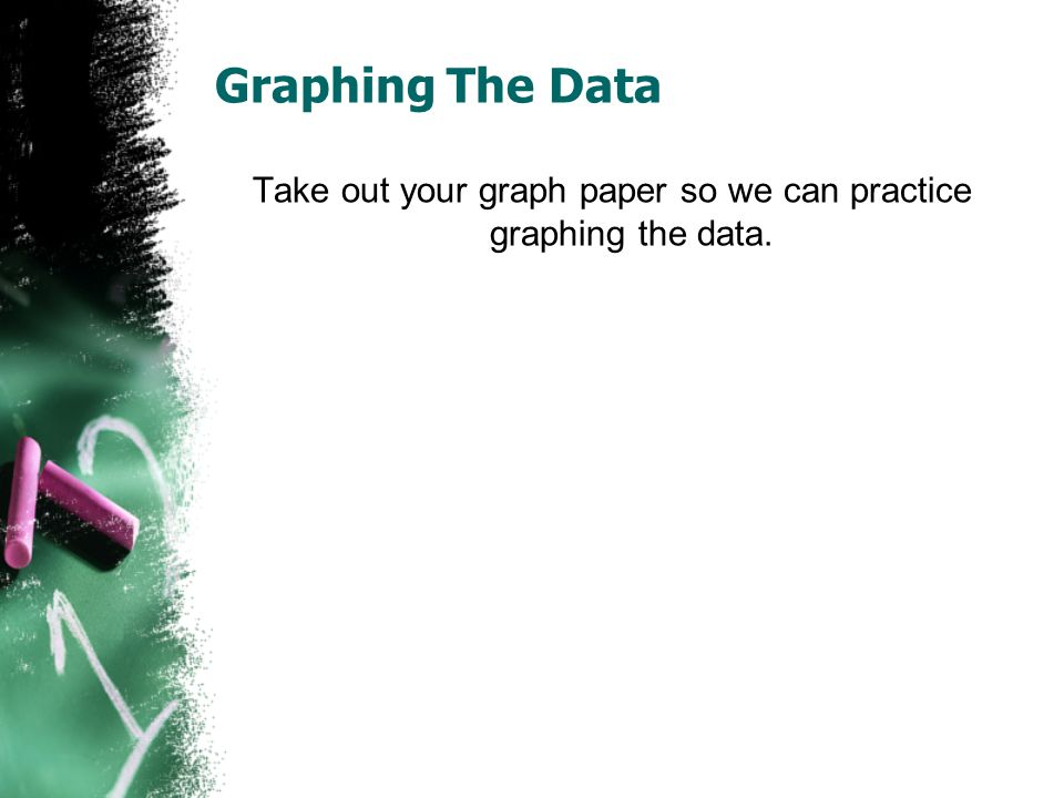 Graphing The Data Take out your graph paper so we can practice graphing the data.