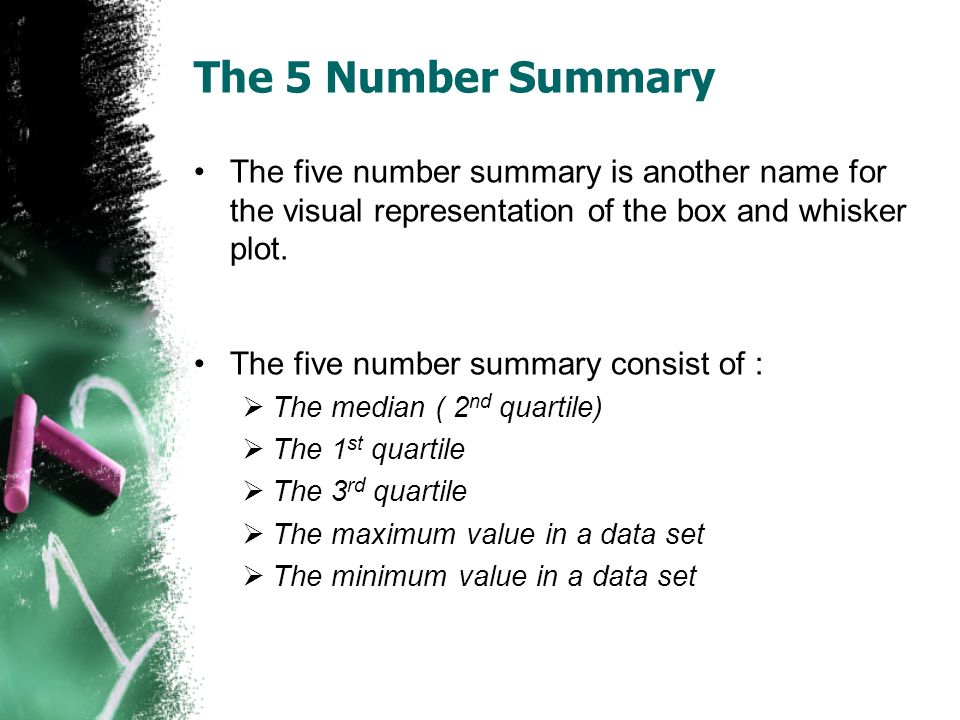The 5 Number Summary The five number summary is another name for the visual representation of the box and whisker plot. The five number summary consis