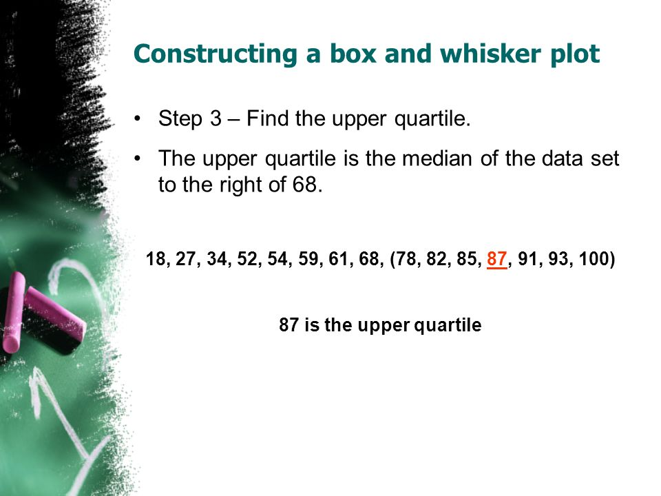 Constructing a box and whisker plot Step 3 – Find the upper quartile. The upper quartile is the median of the data set to the right of 68. 18, 27, 34,