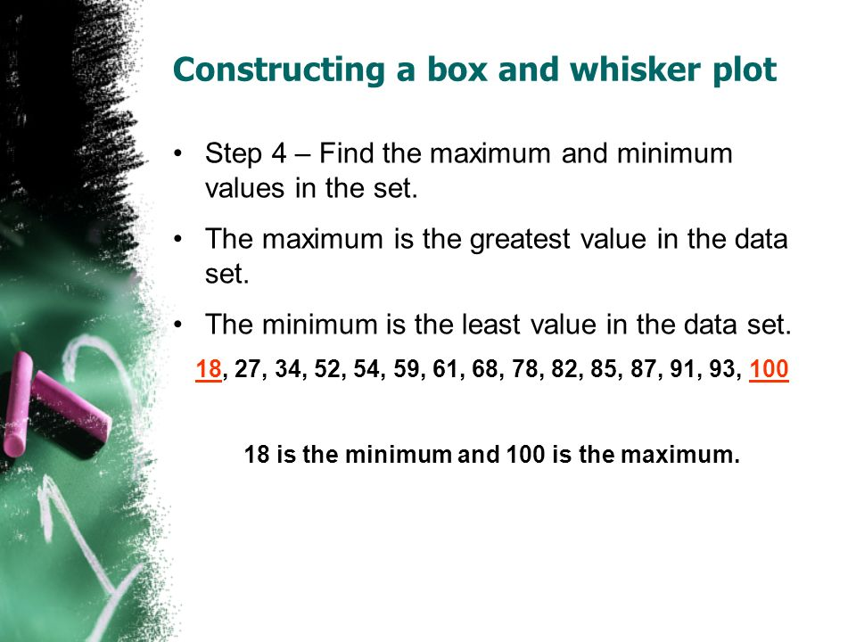 Constructing a box and whisker plot Step 4 – Find the maximum and minimum values in the set. The maximum is the greatest value in the data set. The mi