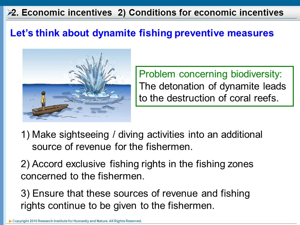 Copyright 2010 Research Institute for Humanity and Nature. All Rights Reserved. Lets think about dynamite fishing preventive measures Problem concerni
