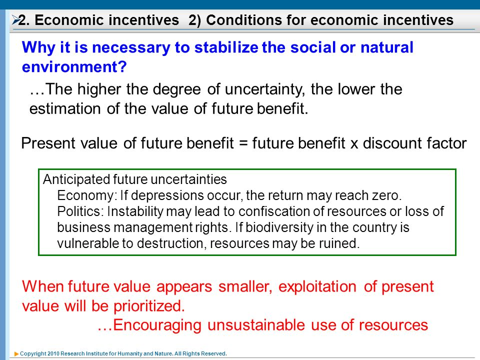 Copyright 2010 Research Institute for Humanity and Nature. All Rights Reserved. Anticipated future uncertainties Economy: If depressions occur, the re