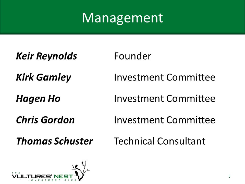 Management Keir Reynolds Founder Kirk Gamley Investment Committee Hagen Ho Investment Committee Chris Gordon Investment Committee Thomas SchusterTechnical Consultant 5