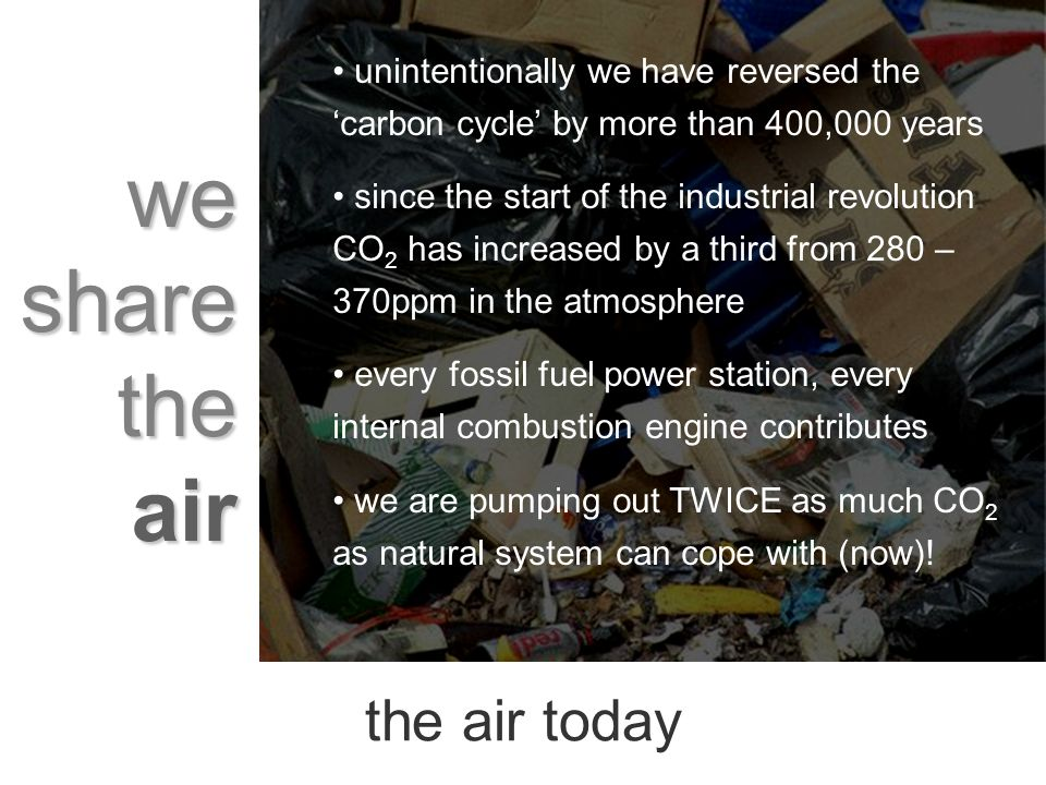 we share the air the air today unintentionally we have reversed the carbon cycle by more than 400,000 years since the start of the industrial revolution CO 2 has increased by a third from 280 – 370ppm in the atmosphere every fossil fuel power station, every internal combustion engine contributes we are pumping out TWICE as much CO 2 as natural system can cope with (now)!