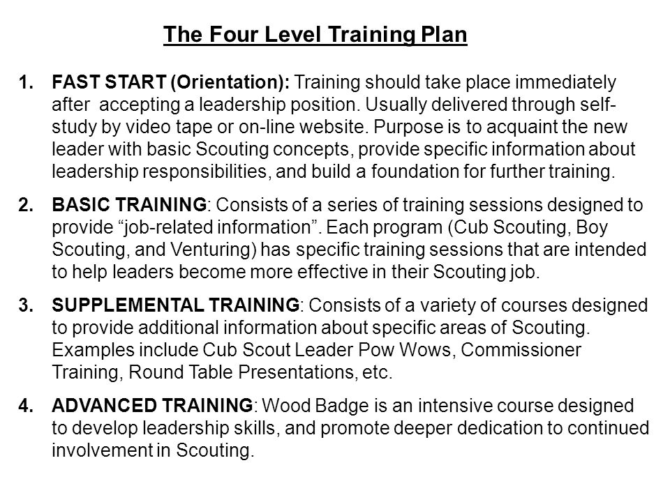 The Four Level Training Plan 1.FAST START (Orientation): Training should take place immediately after accepting a leadership position. Usually deliver