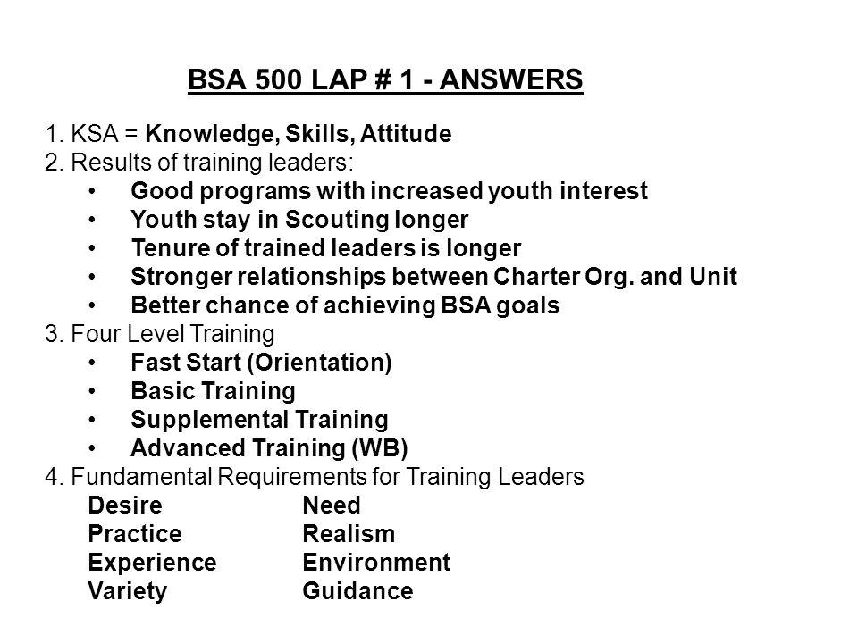 BSA 500 LAP # 1 - ANSWERS 1. KSA = Knowledge, Skills, Attitude 2.