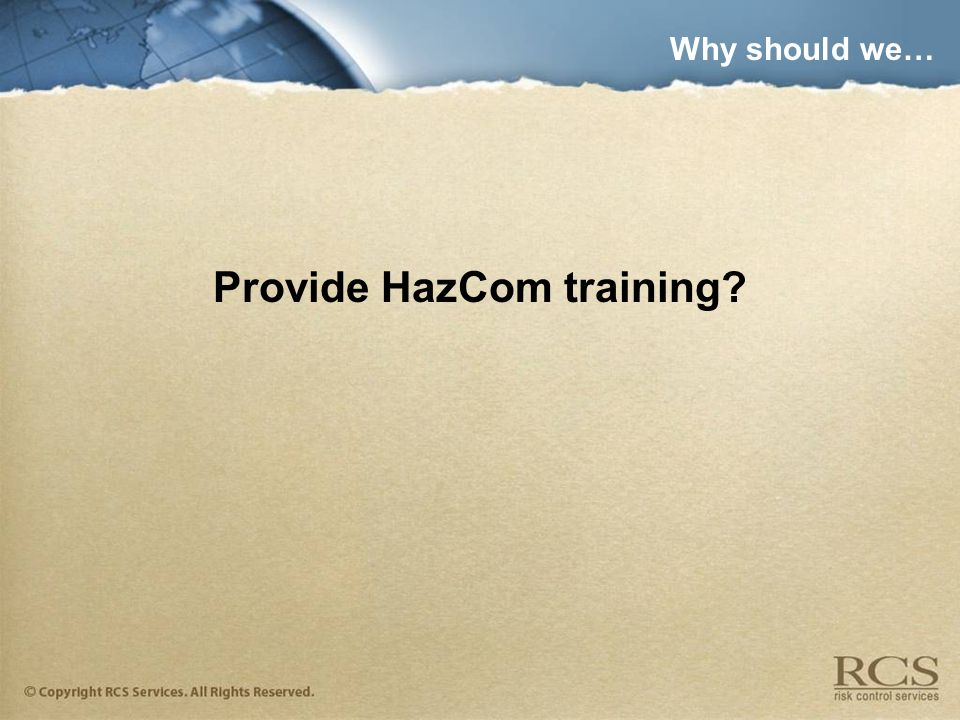 Provide HazCom training