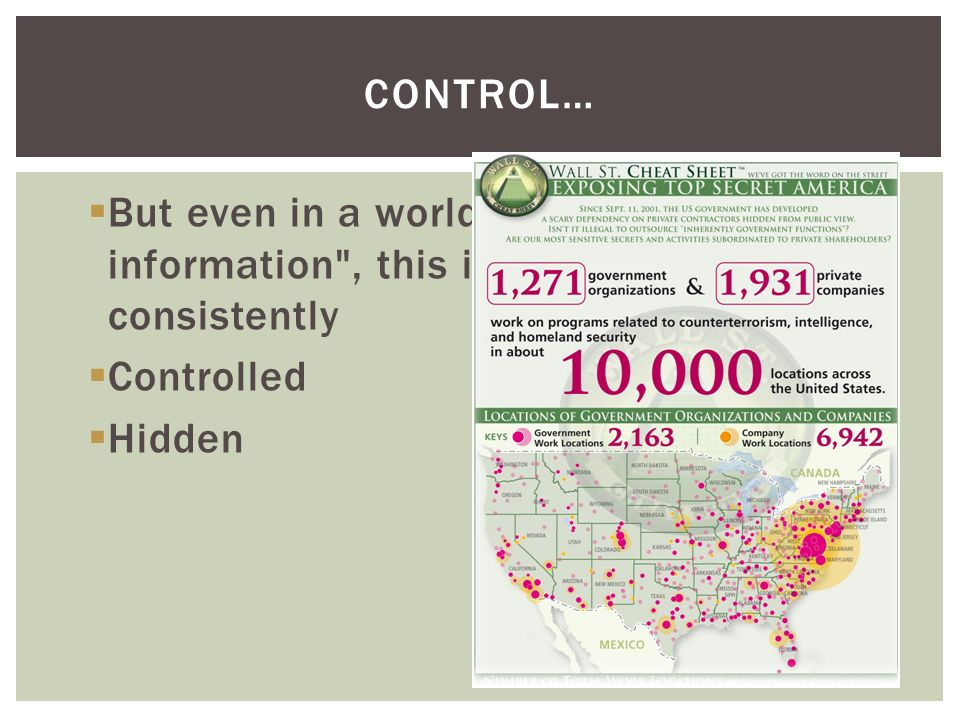 But even in a world of ubiquitous information , this information is consistently Controlled Hidden CONTROL…
