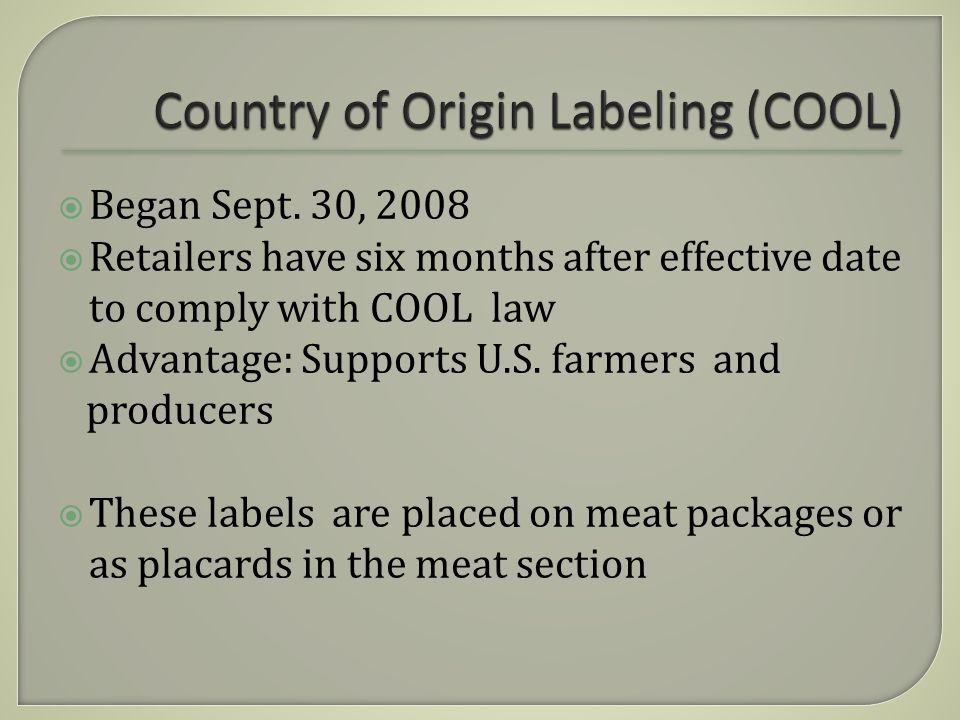 Product of the U.S.Multiple countries of originImported finished products sold at retailAnimals imported for immediate slaughter