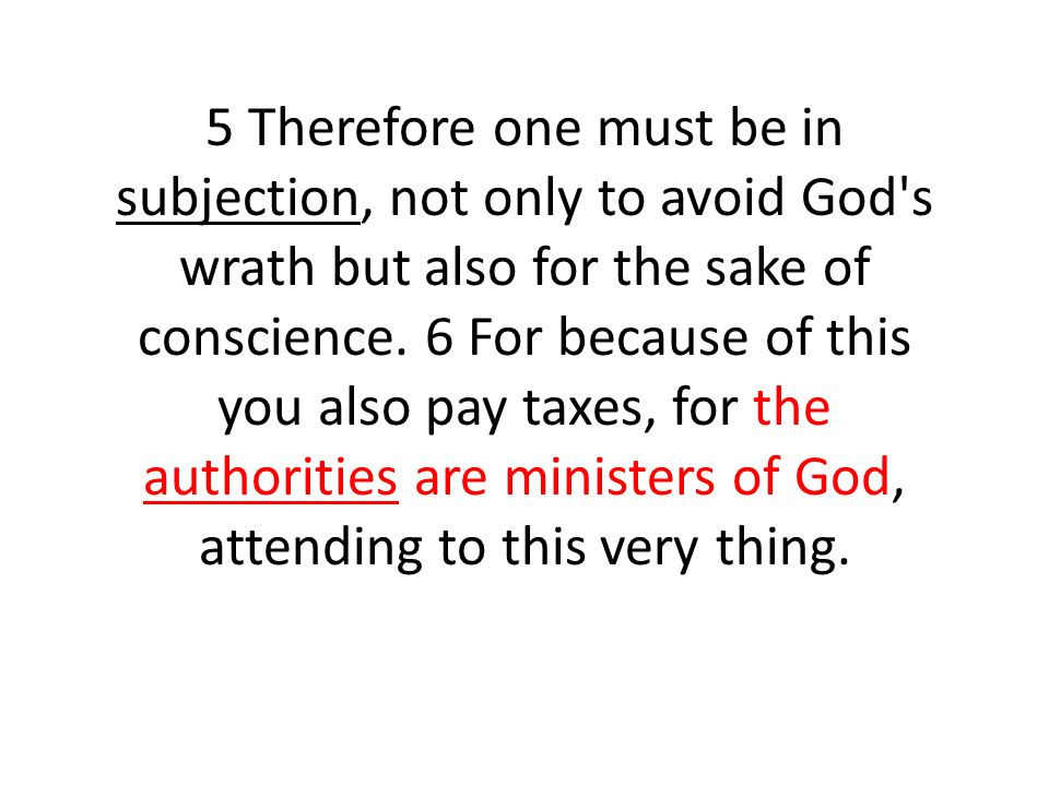 5 Therefore one must be in subjection, not only to avoid God s wrath but also for the sake of conscience.