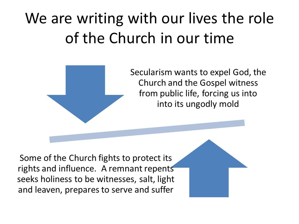 We are writing with our lives the role of the Church in our time Secularism wants to expel God, the Church and the Gospel witness from public life, forcing us into into its ungodly mold Some of the Church fights to protect its rights and influence.