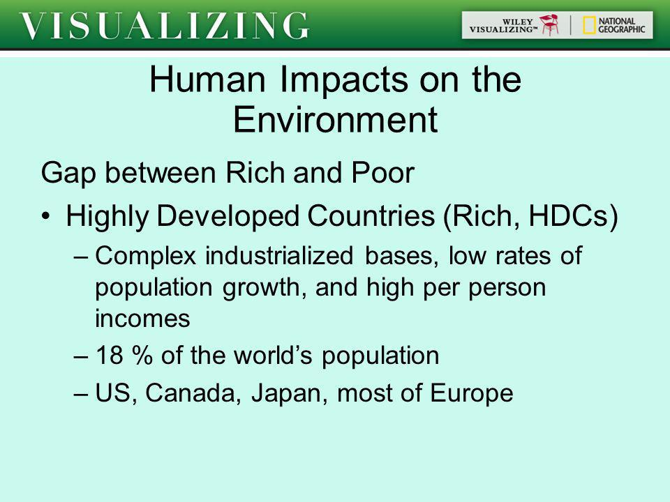 Gap between Rich and Poor Highly Developed Countries (Rich, HDCs) –Complex industrialized bases, low rates of population growth, and high per person i