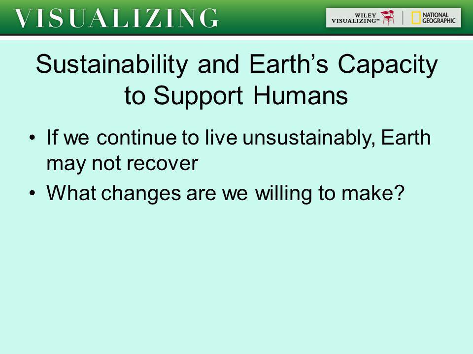 Sustainability and Earths Capacity to Support Humans If we continue to live unsustainably, Earth may not recover What changes are we willing to make?