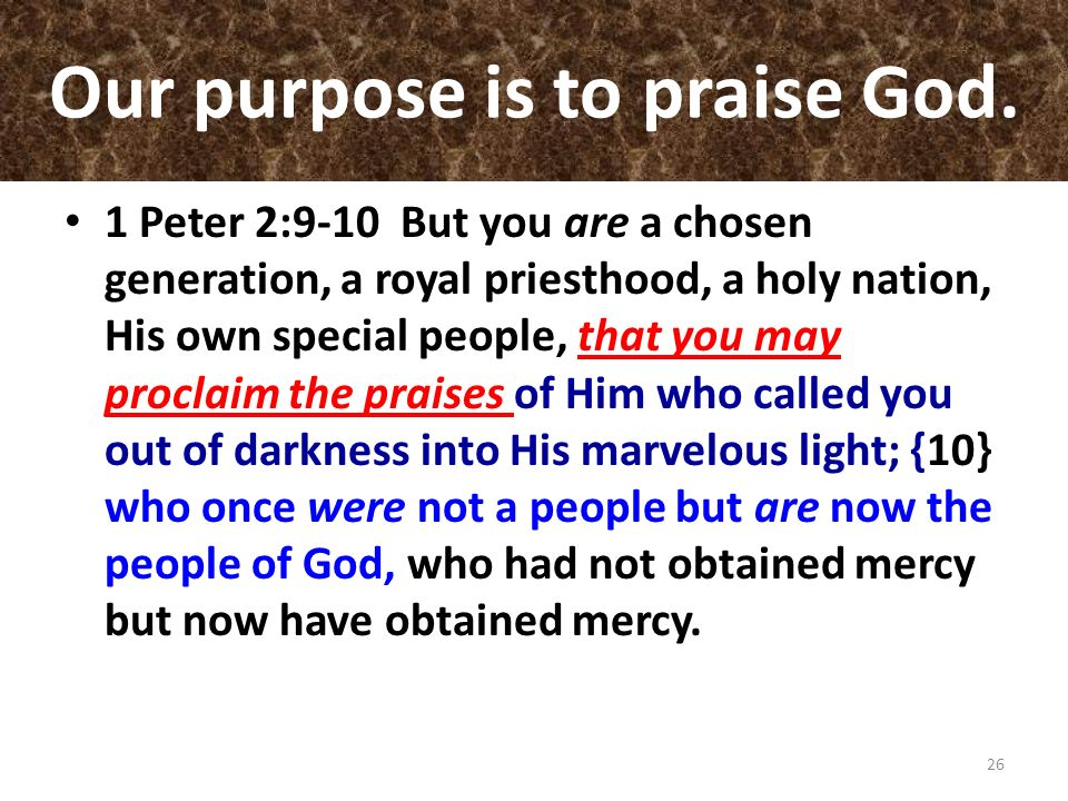 Our purpose is to praise God. 1 Peter 2:9-10 But you are a chosen generation, a royal priesthood, a holy nation, His own special people, that you may